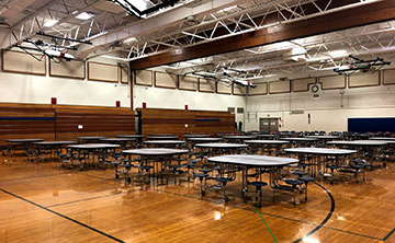 High School temporary cafeteria in the South Gym.